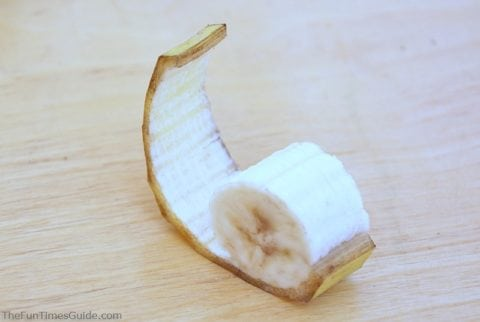 See how to slice a banana into individual bite sized pieces - and still within the banana peel.