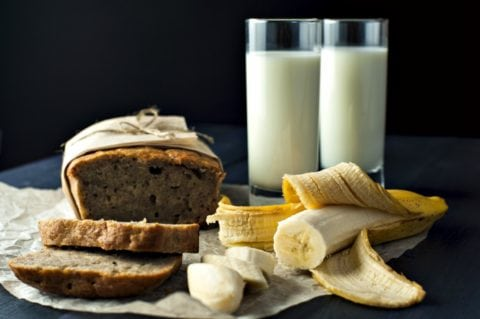 My favorite ways to eat bananas - fresh from the store, and in homemade banana bread with milk!