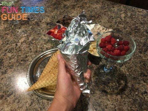 This campfire cones recipe shows you how to make smores at home in the oven... with lots of alternative smores ideas!