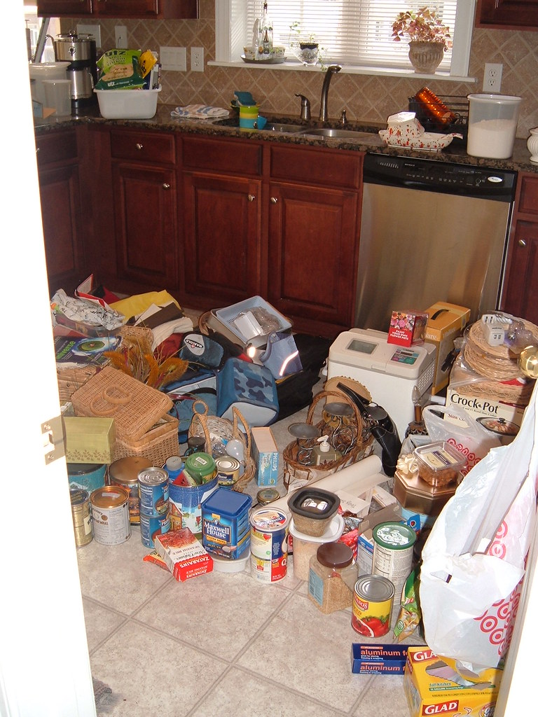 The first step to organizing your kitchen pantry is to empty the pantry and start organizing everything from scratch.