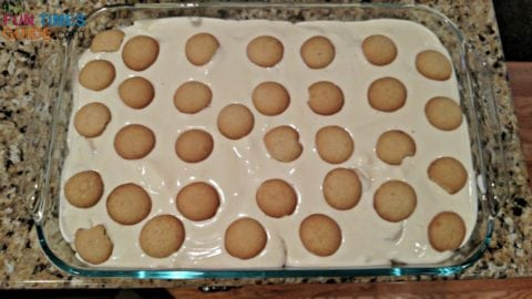 This is the way I USED to make my homemade banana pudding recipe -- with the Vanilla Wafers placed randomly on top of the pudding mixture.
