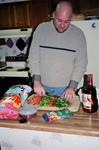 Jim making taco dip -- a New Year's Eve tradition.