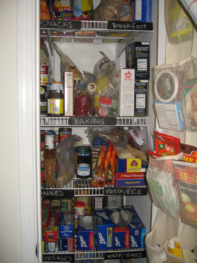 Example of labeling pantry shelves.