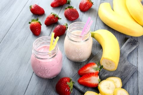 See my favorite strawberry banana smoothie recipe -- you can make it more banana flavored or more strawberry flavored by adding more of one or the other to this recipe.